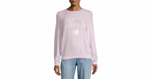 """Wildfox Couture women/'s /""""lets sleep in /"""" pink and white swatshirt size XS-L new"""