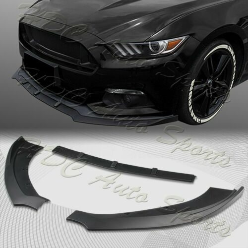For 2015-2017 Ford Mustang Unpainted BLK Front Bumper Body Kit Spoiler Lip 3PCS