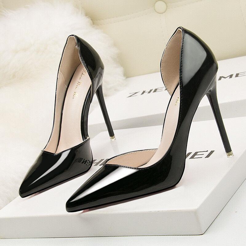 Zapatos  de salón mujer 10 elegantes tacón brillante aguja negro brillante tacón como piel 9664 f44542
