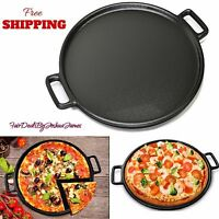 14 Inch Cast Iron Cookware Griddle Pizza Pan Skillet Preseasoned Grill Oven