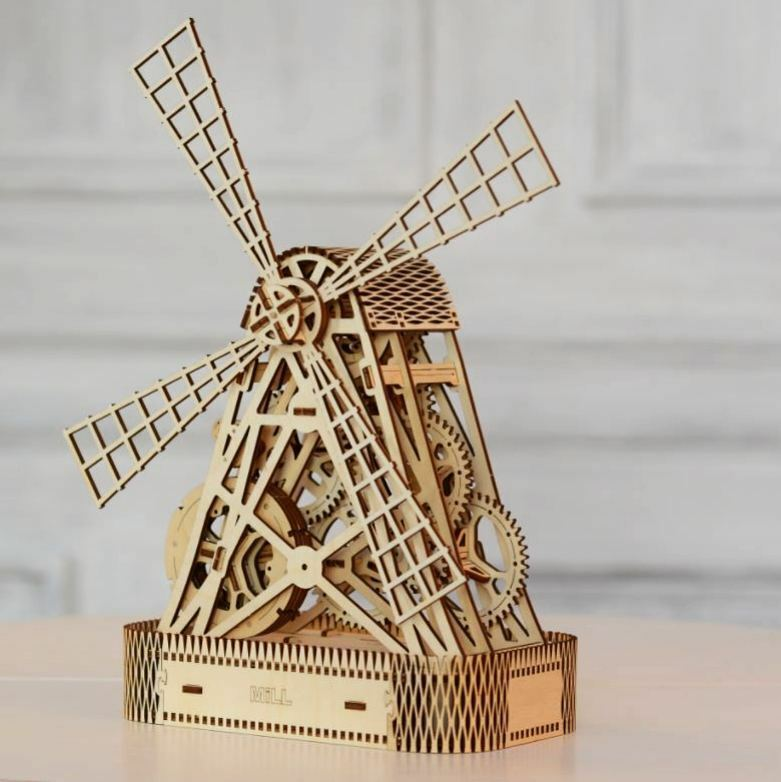 XMAS GIFT IDEA WINDMILL - WOODEN CITY 3D Mechanical Wooden Model & Puzzle