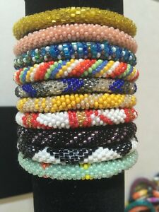 $ NEW 10 SET Nepal Rolls On Beads bracelet crochet handmade bangle Nepal Bead