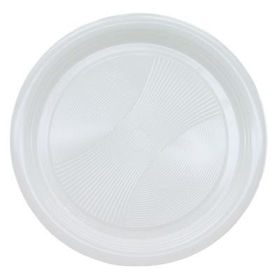 55 flache Teller weiß rund 22 cm Kunststoff Plastik Plaste stabile Einwegteller