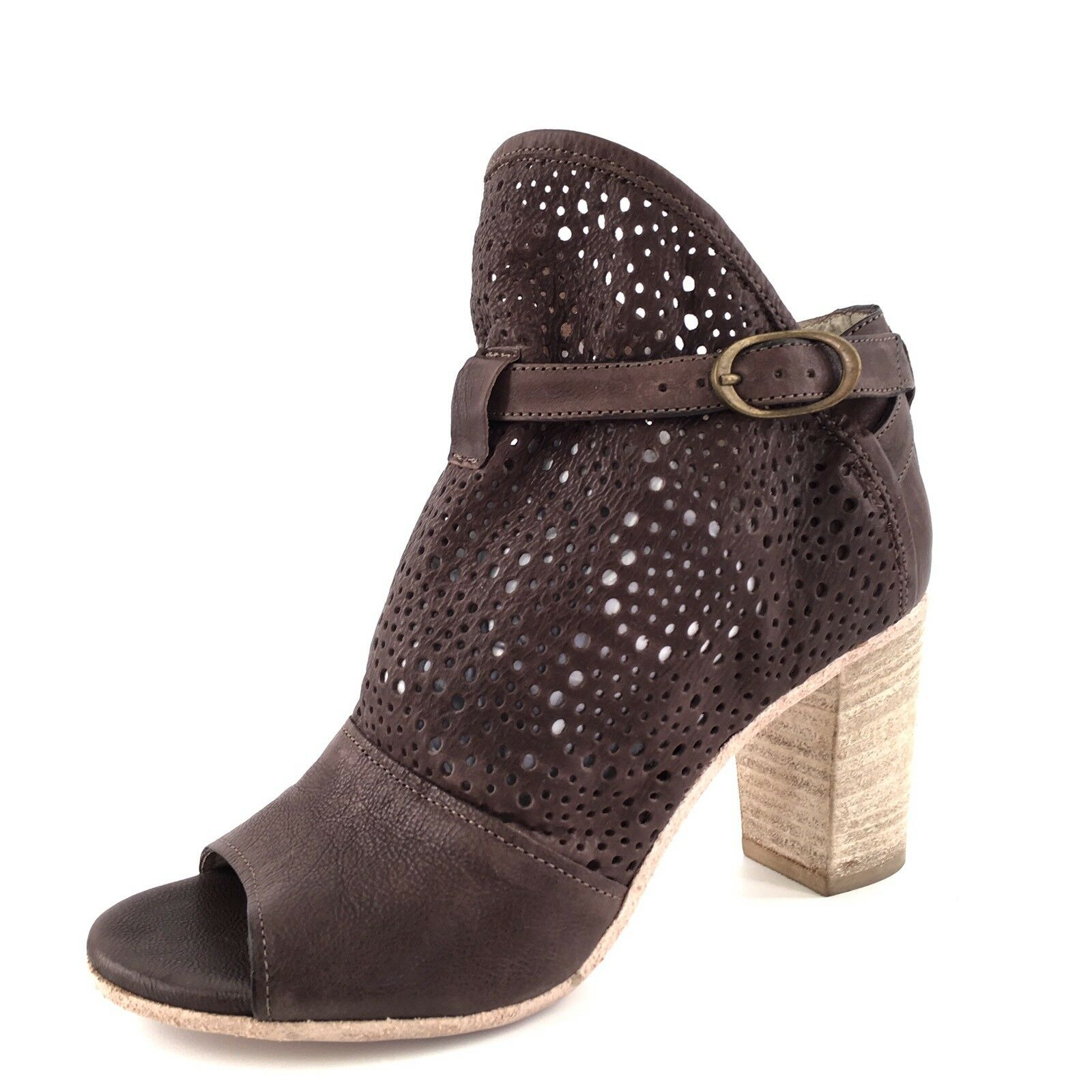 Latitude Femme Brown Leather Open Toe Ankle Boots Women's Size 37 M