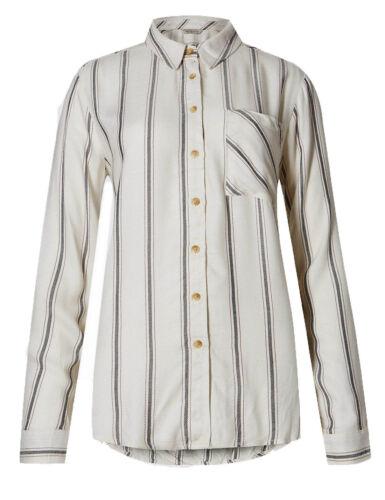 Ex M*S Drop Hem Striped Long Sleeve Shirt Size 8-24 W4.4