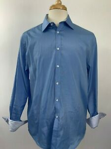 Nicole-Miller-Button-Up-Shirt-Mens-Size-16-Blue-Contrast-Cuff-Long-Sleeve