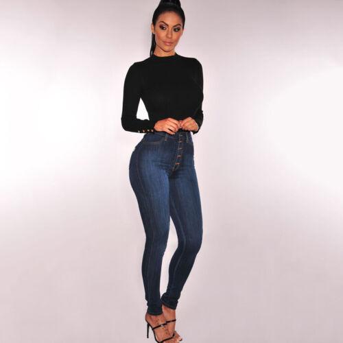 Womens High Waist Pants Stretch Slim Fit Jeans Pencil Trousers Plus Size US 4-16