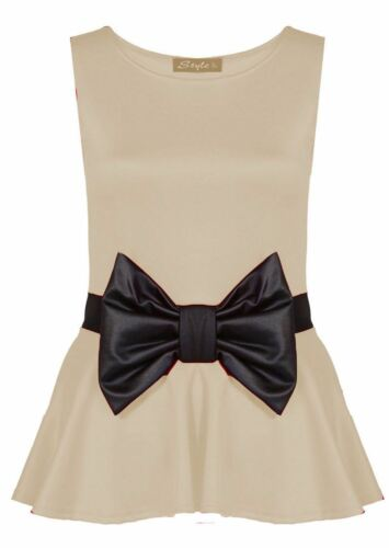Ladies Waist Frill Bow Peplum Plus Size Flare Sleeveless Fitted Vest Skater Tops