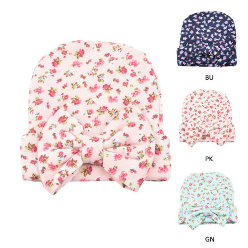 Newborn Baby Girls Nursery Beanie Hospital Hats with Bow Cute Christmas Gifts