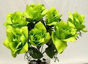 42 lime green open roses wedding bouquet silk flowers ebay image is loading 42 lime green open roses wedding bouquet silk mightylinksfo