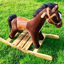 Melissa Doug Rock Trot Plush Rocking Horse 2137 Wooden Base Handles Saddle
