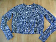 ABERCROMBIE & FITCH schöner melierter Kurzpullover blau weiß Gr. S TOP kCE416