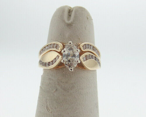 Genuine 3 4cttw Diamonds Marquise Cut Solid 14k Yellow gold Engagement Ring Set