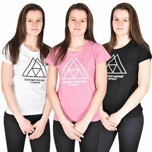Damas-Skechers-Camiseta-Gimnasia-Deportes-Top-para-mujeres-100-algodon-con-la-marca-Nueva-Camiseta
