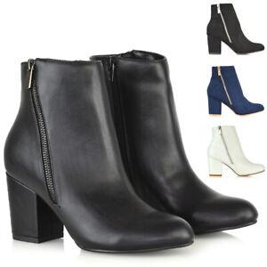 Zapatos-De-Fiesta-Mujer-Botas-al-Tobillo-Tacon-Bloque-Medio-senoras-postal-Casual-Inteligente
