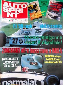 Autosprint 36 1980 Bruno Sciupa L'alfa 2° E Condanna La T5. Piquet E Jones Sc.53 Bon Pour AntipyréTique Et Sucette De La Gorge