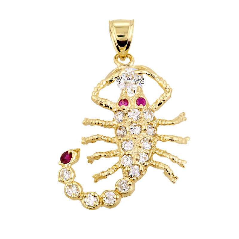 Polished Yellow gold Scorpion Charm Pendant with Red and Clear CZ Made in USA