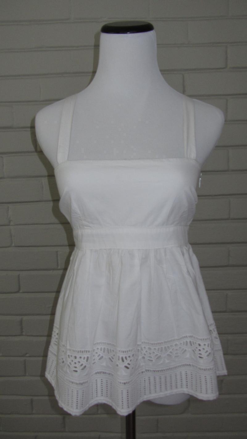 WHIT damen Größe P petite Weiß cotton cut out boutique tank top crisp NEW