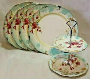 Grace-Porcelain-Dinner-Plates-amp-Server-White-Blue-amp-Pink-Floral-Set-of-Four-New