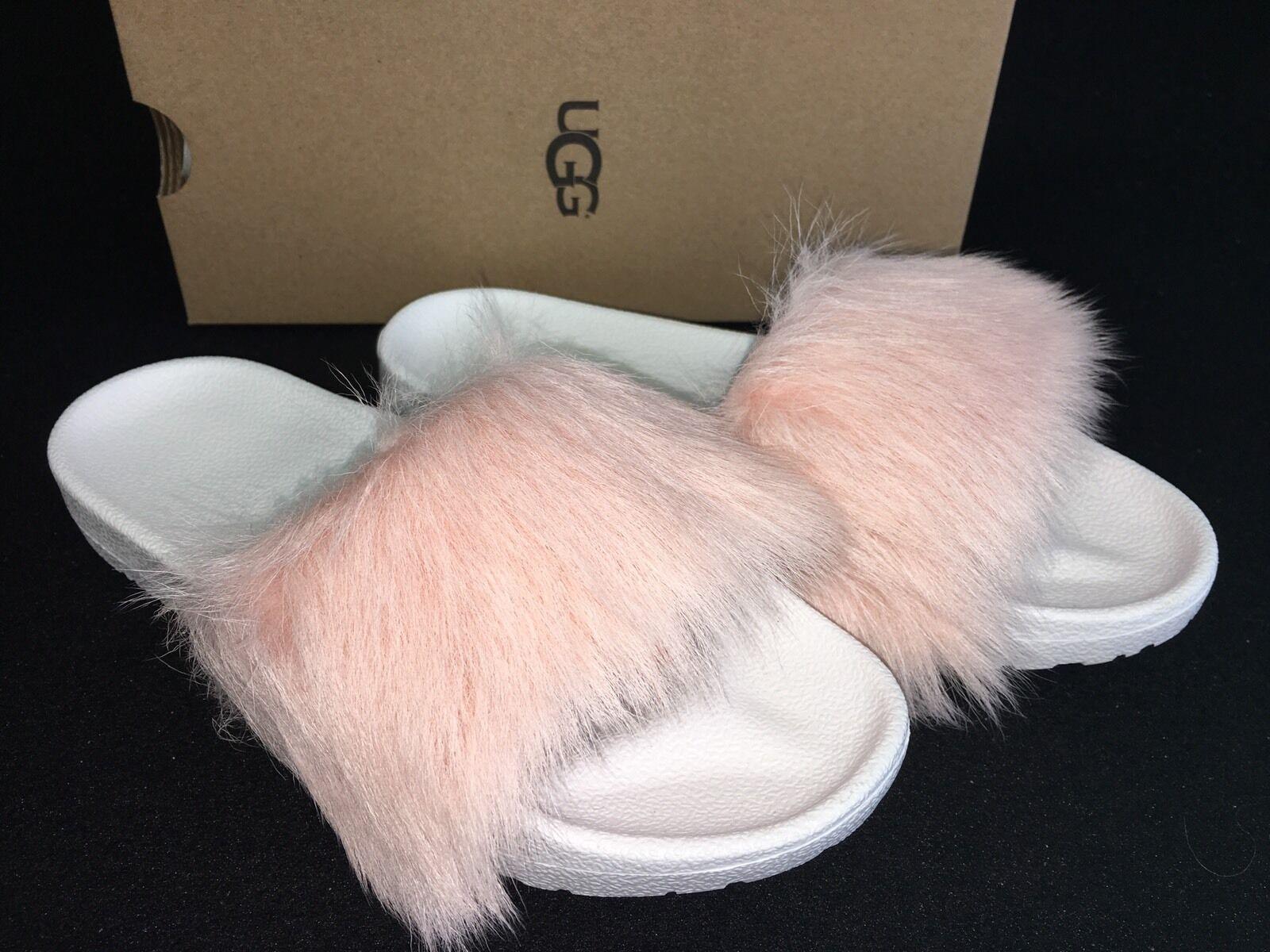 9220ea874e0 UGG Australia Royale Genuine Lamb Fur Pink White Slide Sandal Size 8