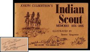 Indiano-Scout-Memoirs-1876-1895-Joseph-Culberton-Firmato-da-Illustratore-Mappa