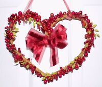 Valentine's Day Berry Garland Heart Primitive Door Rustic Hanging Decor Wreath