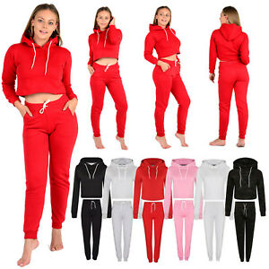 Sporting Goods Womens Ladies Plain Cropped Hooded Tracksuit Set Top Bottom Trouser Hoodies Xs-l Fitness, Running & Yoga