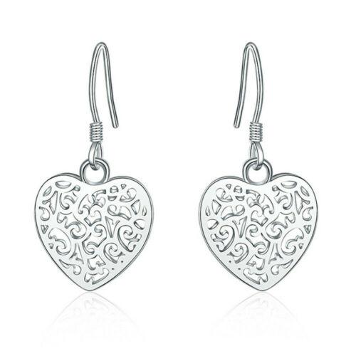 Nouveau 925 Silver Fashion Jewelry Romantique Coeur Femmes Dangle Boucles d/'oreilles LEY022
