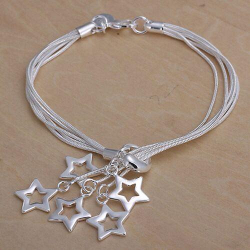 Wholesale Fashion 925 Sterling Argent Massif Bijoux 5 Chaîne Star Bracelet H153