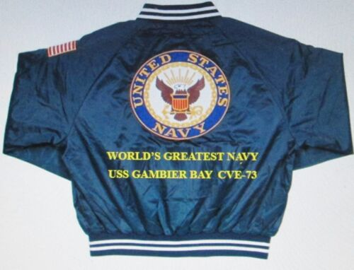 """USS GAMBIER BAY  CVE-73  NAVY ANCHOR /"""" EMBROIDERED 2-SIDED SATIN JACKET"""