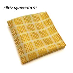 Gold Silk Pocket Square Handkerchief For Jacket Pocket Large Check Design