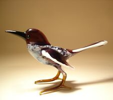 Blown Glass  Art Animal Figurine Black and White MAGPIE Bird