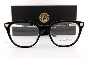 fcb6dc504e110 Brand New VERSACE Eyeglass Frames 3242 GB1 Black For Women 100 ...