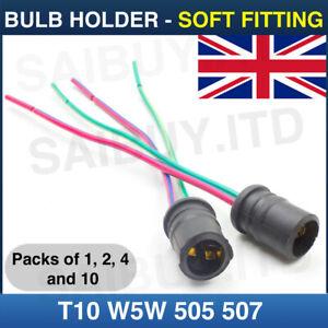 T10-W5W-501-505-507-Capless-Wedge-Bulb-Holder-Socket-Soft-Fitting-6v-12v-24v