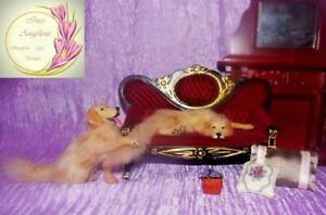 Golden-retriever-dog-OOAK-1-12-realistic-dollhouse-miniature-Handsculpt-handmade