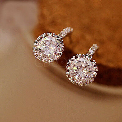 Hot Women's Silver Clear Round Crystal Rhinestone Zircon Cz Stud Earrings