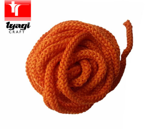 Polyester ParaCord 5mm ORANGE  Braided Rope Soft Cord Lace Color Sewing Craft
