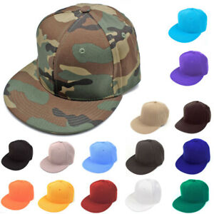 af8bd7c8f Details about New Fitted Baseball Hat Cap Plain Basic Blank Color Flat Bill  Visor Ball Sport