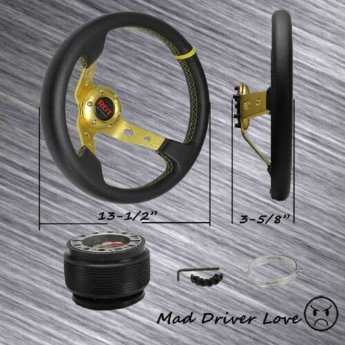 "FOR 89-97 240SX 90-96 300ZX DEEP DISH GOLD 13.5/"" STEERING WHEEL+HUB ADAPTER"