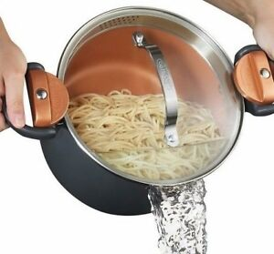 Gotham Steel Nonstick Pasta Pot with Built in Strainer Lid & Locking Handles NEW