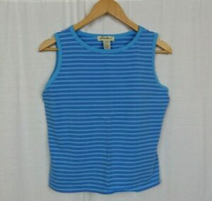 Eddie-Bauer-Women-039-s-Blue-Striped-Tank-Top-Shirt-Cotton-Blend-Casual-Size-Large
