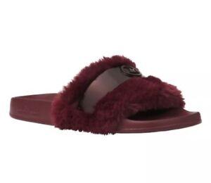e6ecef26447 Michael Kors Jett Faux Fur Upper Slides Size 6 Burgundy Ox Blood MK ...