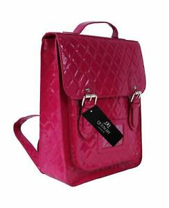 38fc359050 Details about Ladies Womens Girls Satchel Backpack Rucksack Bag School Bags  Glossy Pvc Leather