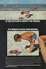 EASTMAN KODAK Original 1975 Vintage Color  Print Ad - Boy on Beach with Crab
