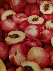 Coupon-tissu-Patchwork-imprime-Makower-Serie-fruits-Les-peches-45-55-cm