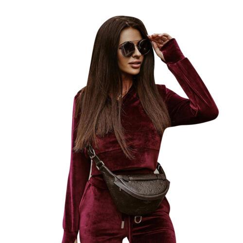 Womens 2pcs Velvet Tracksuit Hooded Crop Tops Pants Set Casual Sport Loungewear