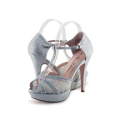 Women's Shoes Blossom Vice 85 Embellished T Strap Platform Sandals Silver *New*