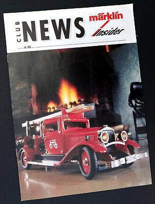 "2019 Nuovo Stile Märklin Rivista ""club News Märklin Insider 4/1998"", Din A4, 16 Pagine-mostra Il Titolo Originale"