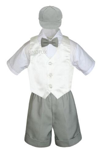 5pc Gray Boys Toddler Formal Vest Shorts Suit Satin Color Vest Tie Hat Set S-4T