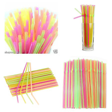 100Neon black Flexible Birthday Party Drinking Straws Assorted Black Coloured